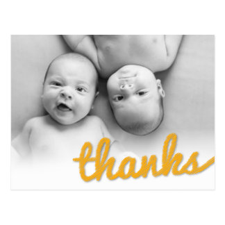 Big Sketch Thanks Twins Birthday Photo Thank You Postcard