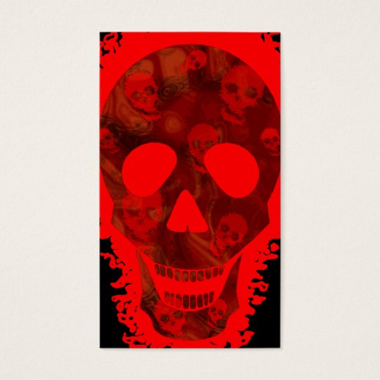 Big Skull Red business card vertical black