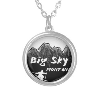 Big Sky Montana artistic skier Silver Plated Necklace