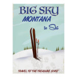 Big Sky, Montana skiing travel poster