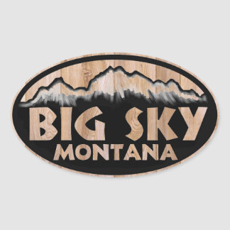 Big Sky Montana wooden oval stickers