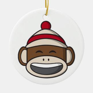 Big Smile Sock Monkey Emoji Christmas Ornament