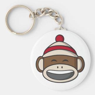 Big Smile Sock Monkey Emoji Key Ring