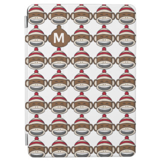 Big Smile Sock Monkey Emoji Monogrammed iPad Air Cover