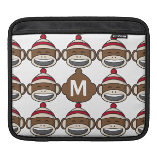 Big Smile Sock Monkey Emoji Monogrammed iPad Sleeve