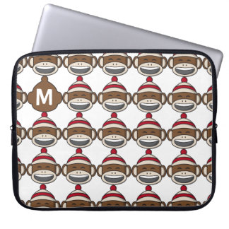 Big Smile Sock Monkey Emoji Monogrammed Laptop Sleeve