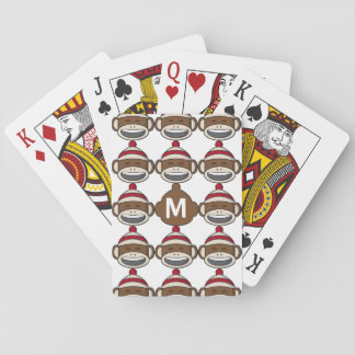 Big Smile Sock Monkey Emoji Monogrammed Playing Cards