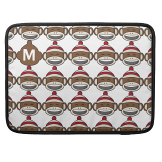 Big Smile Sock Monkey Emoji Monogrammed Sleeve For MacBook Pro