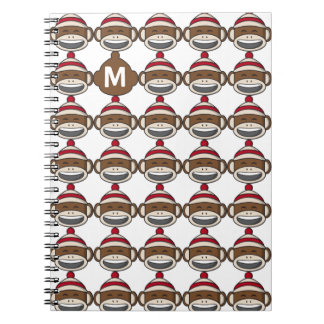 Big Smile Sock Monkey Emoji Monogrammed Spiral Notebook