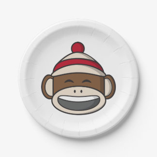Big Smile Sock Monkey Emoji Paper Plate