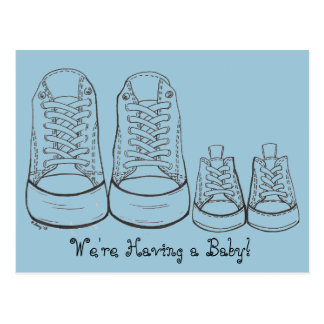 Big Sneakers - Little Sneakers Baby Announcements Post Cards