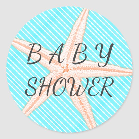 Big Starfish Aqua Stripes Baby Shower Classic Round