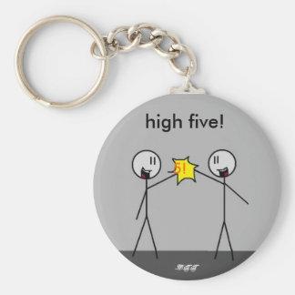 big stick high5, 5!, high five!, -DTT Basic Round Button Key Ring