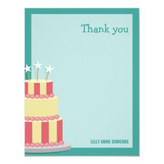 Big Striped Cake Birthday Thank You Note Card 11 Cm X 14 Cm Invitation Card