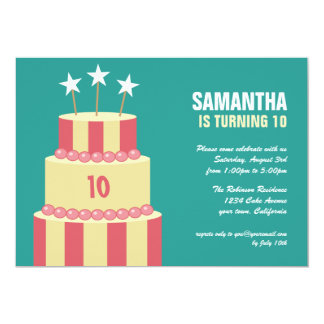 BIg Striped Cake Girls Birthday Party Invitations