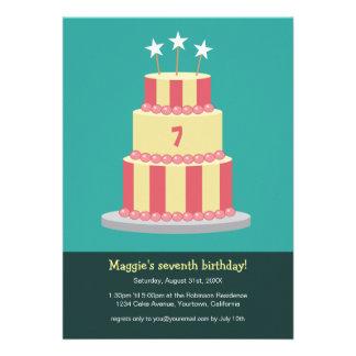 BIg Striped Cake Girls Birthday Party Invites