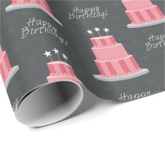 Big Striped Cake & Stars Happy Birthday Wrapping Paper
