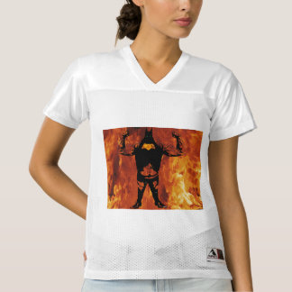 Big strong black hero angry with fire women's football jersey