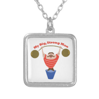Big Strong Man Square Pendant Necklace