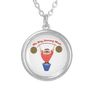 Big Strong Man Round Pendant Necklace