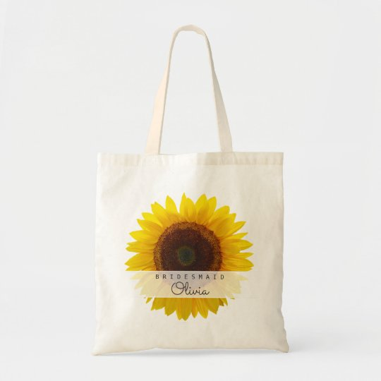 Big Sunflower Bridesmaid Personalised Tote