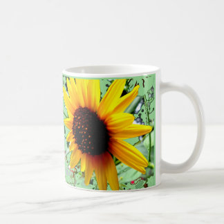 Big Sunny Sunflowers Minty Green Mug by Sharles