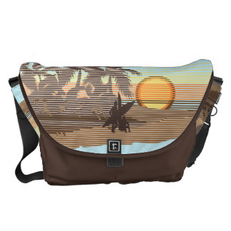 Big Sunset Hawaiian Rickshaw Large Messenger Bag