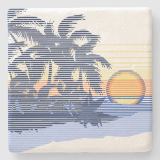 Big Sunset Stripe Hawaiian Tiki Bar Coasters Stone Coaster