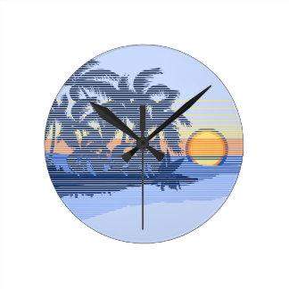 Big Sunset Stripe Hawaiian Wall Clocks