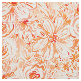 BIG SUNSHINE Bold Coral Floral Watercolor Fabric