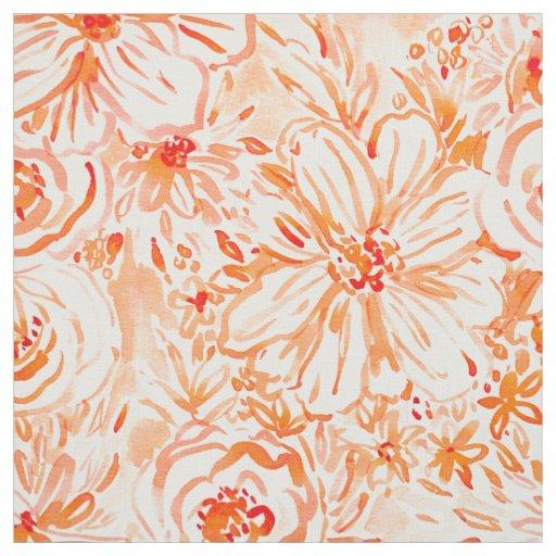 BIG SUNSHINE Bold Coral Floral Watercolor Fabric