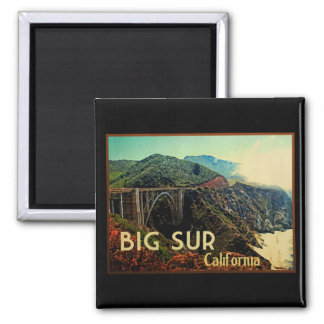 Big Sur California Vintage Square Magnet