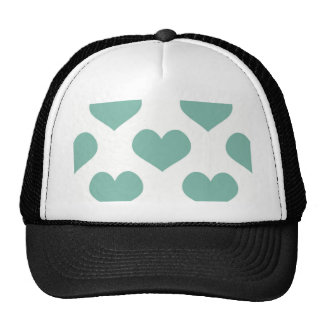 Big teal heart pattern fun girly happy kids child cap