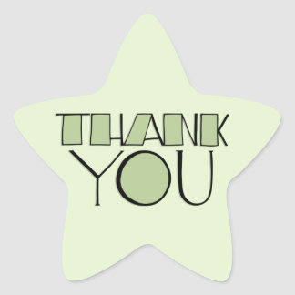 Big Thank You green Star Sticker