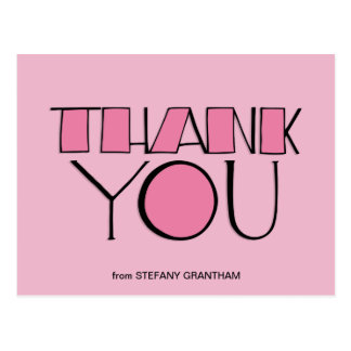 Big Thank You pink Postcard