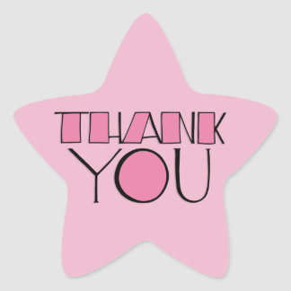Big Thank You pink Star Sticker