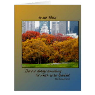 Big Thanksgiving card Fall Central Park for Boss