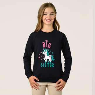 big to sister unicorn eyelashes sweatshirt