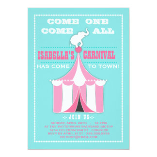 Big Top Carnival Birthday Party Turquoise | Pink 13 Cm X 18 Cm Invitation Card