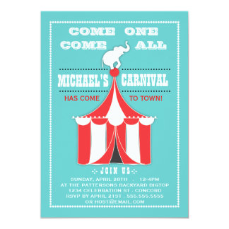 Big Top Carnival Birthday Party Turquoise | Red 13 Cm X 18 Cm Invitation Card