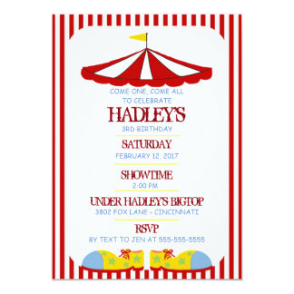 Big Top Circus Birthday Party Invitation