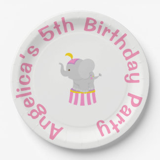 Big Top Circus Carnival Birthday in Pink 9 Inch Paper Plate