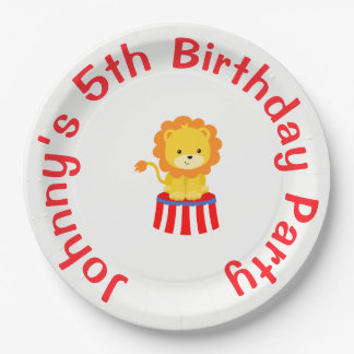 Big Top Circus Carnival Birthday in Red 9 Inch Paper Plate