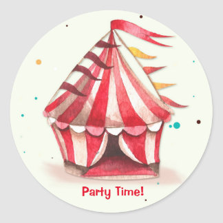 Big Top Circus Tent Round Sticker