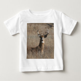Big Trophy Buck Deer in Tall Grass Camo Baby T-Shirt