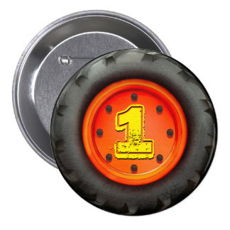 Big Truck Wheel 1st Birthday Party Pinback Buttons
