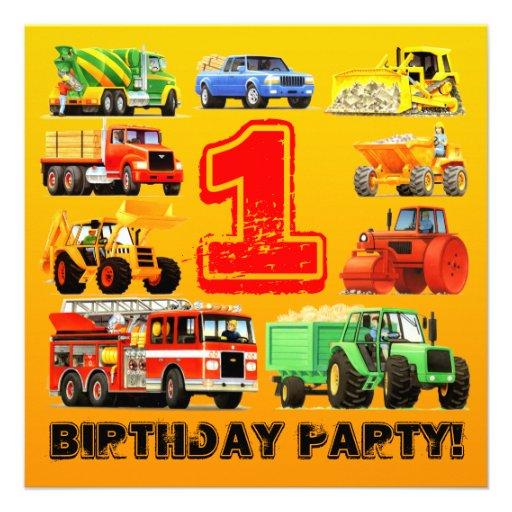 Big Trucks 1st Birthday Party Personalized Invitations