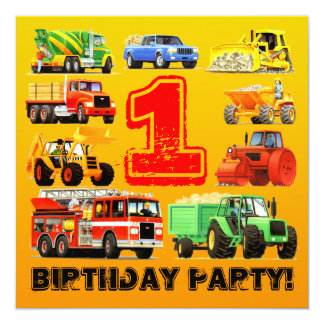 Big Trucks 1st Birthday Party Personalized Invitations