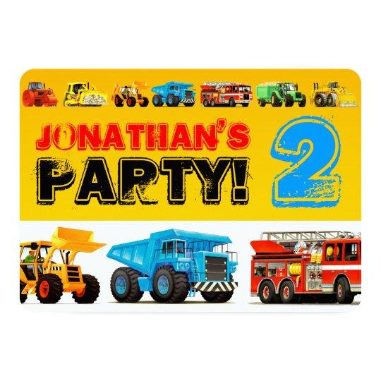 Big Trucks 2nd Birthday Party Card
