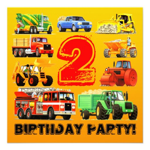Big Trucks 2nd Birthday Party Announcements